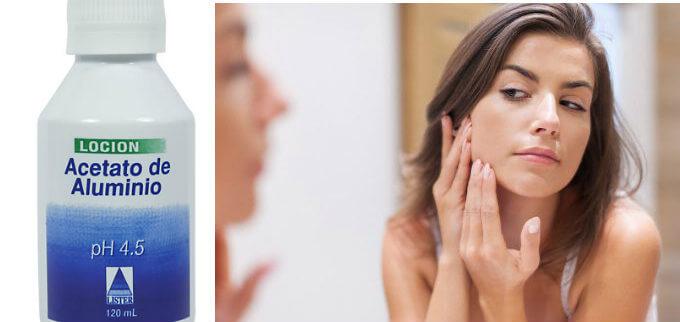 beneficios del acetato de aluminio en la cara