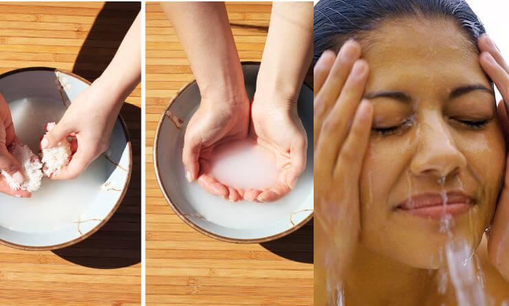 como lavar la cara con agua de arroz